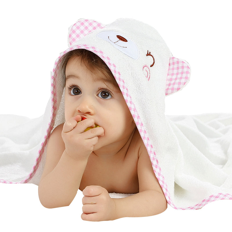 Bear Hooded Bamboo Bath Towel - Pink