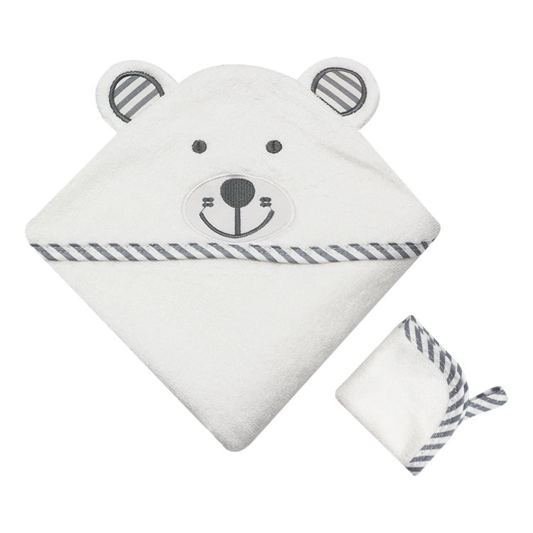 Bear Hooded Bamboo Bath Towel - Grey