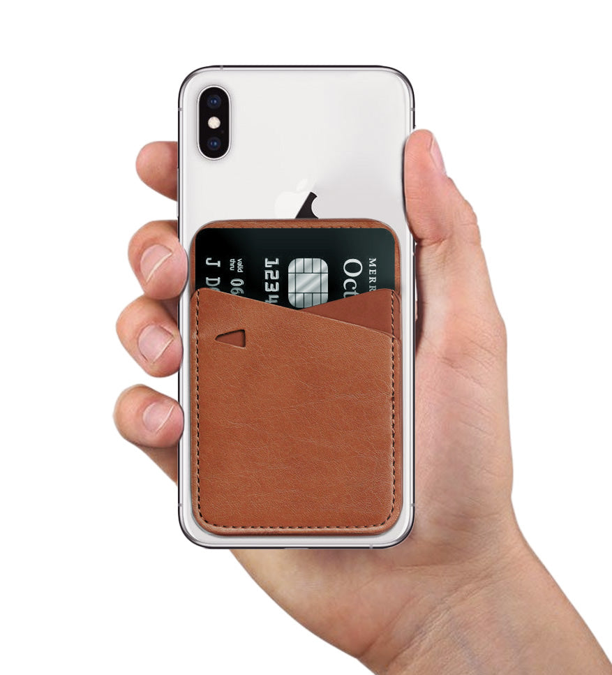 Tan leather mobile wallet