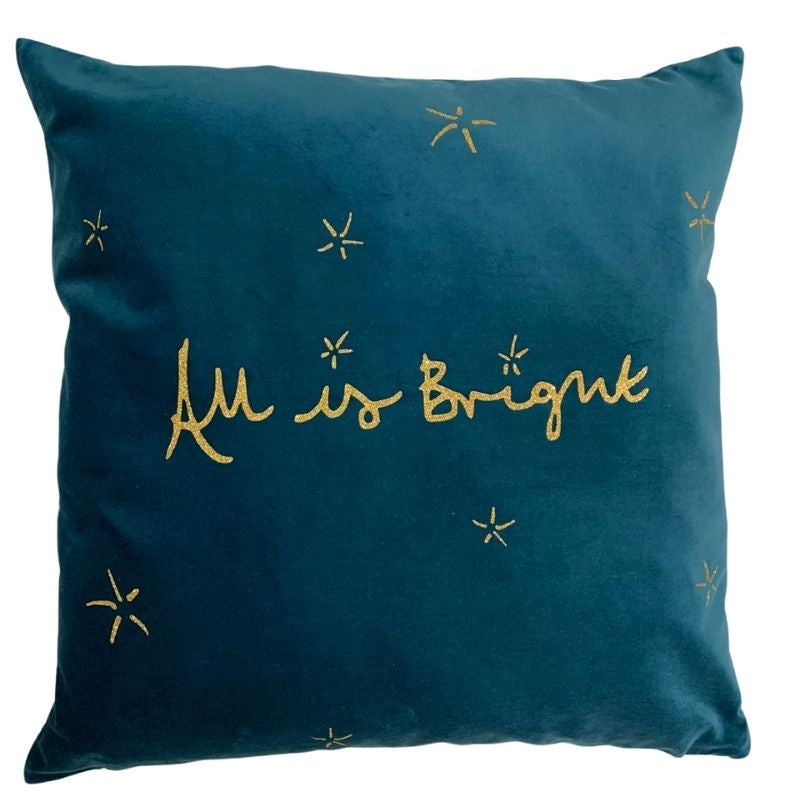 """All Is Bright"" Teal and Gold Velvet Cushion"