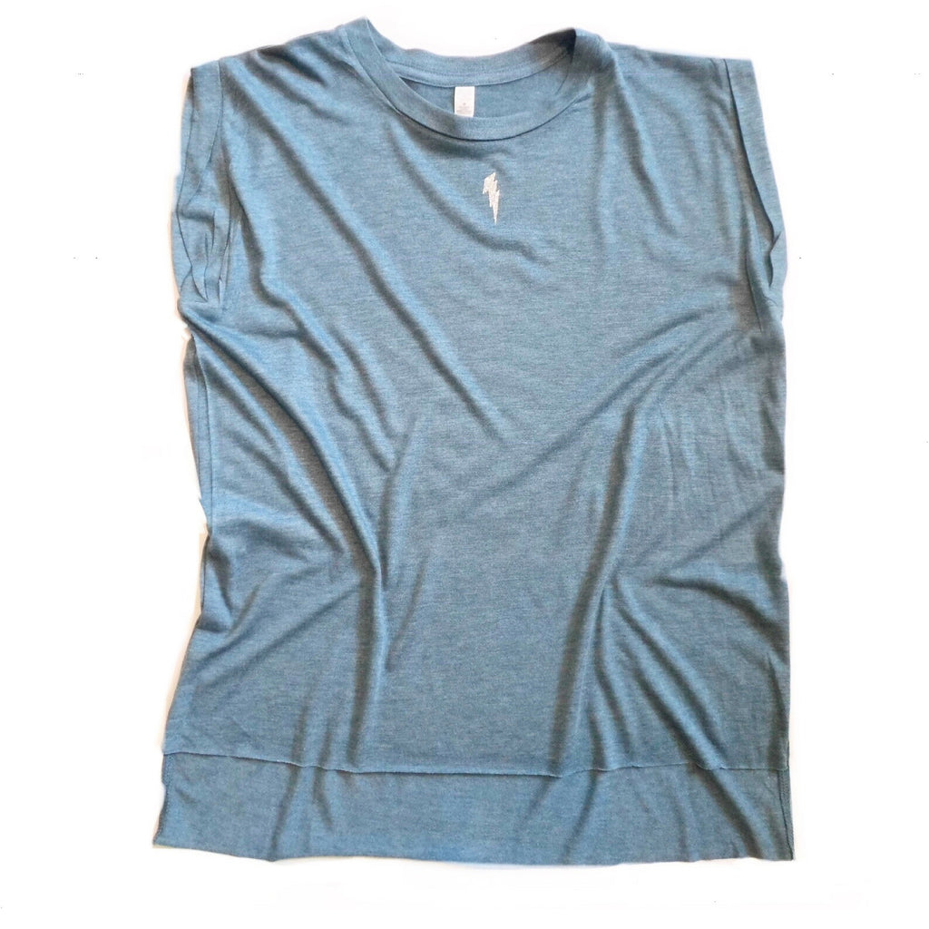Pale Blue Tank with Silver Lightning Bolt