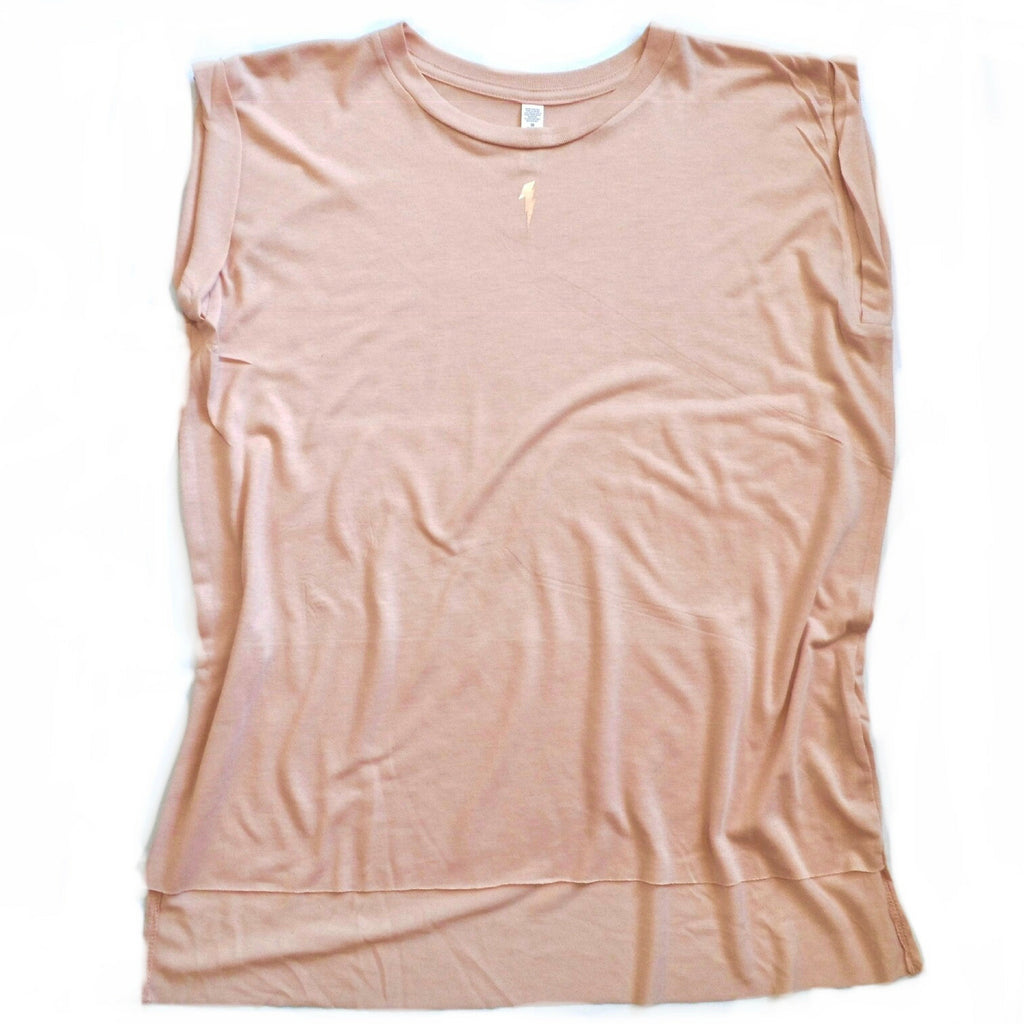 Pink tank with a rose gold lightning bolt detail