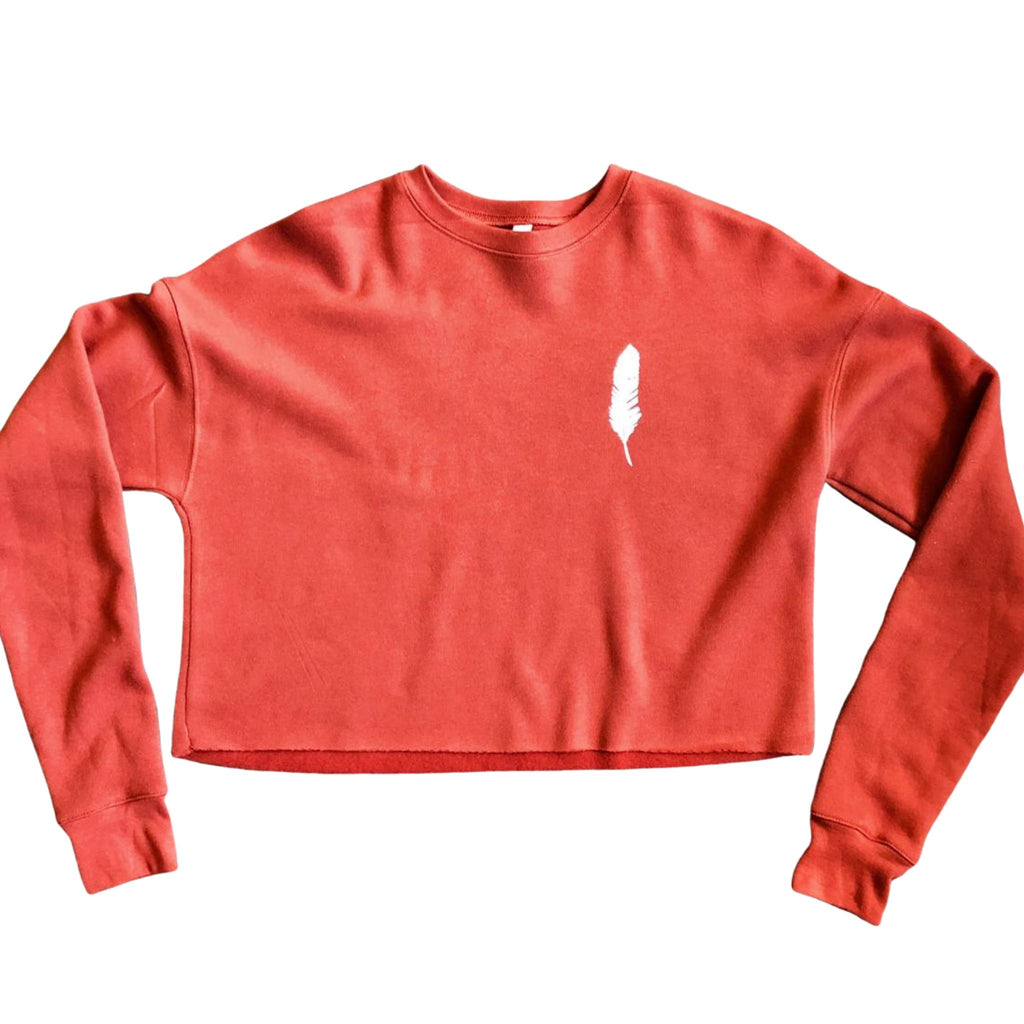 brick cropped sweatshirt with feather motif