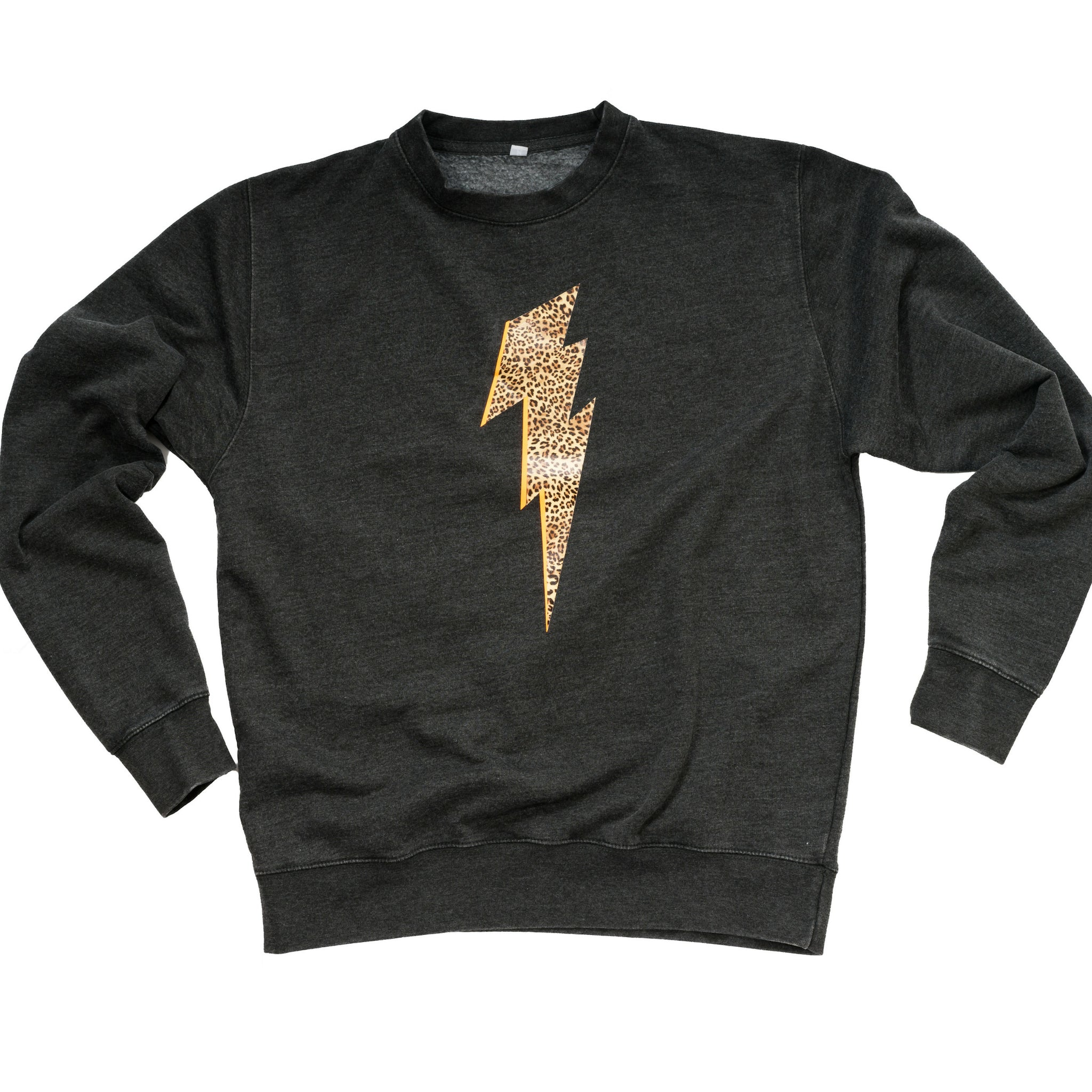 charcoal sweatshirt with leopard lightning bolt