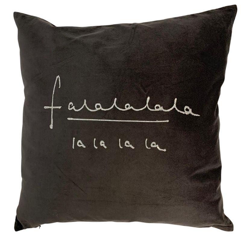 """Falalalala"" Deep Grey and Silver Velvet Cushion"