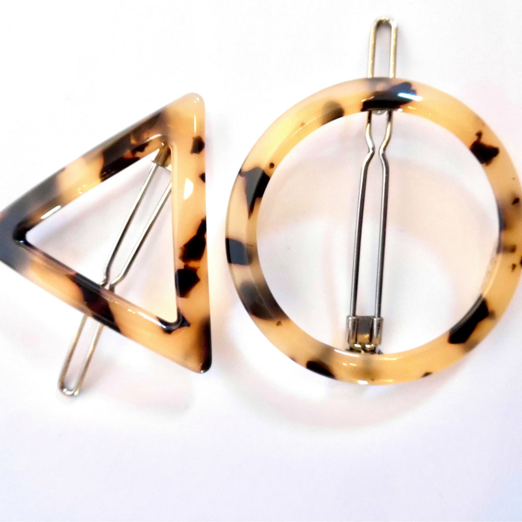 geometric tortoiseshell hair clips - blonde
