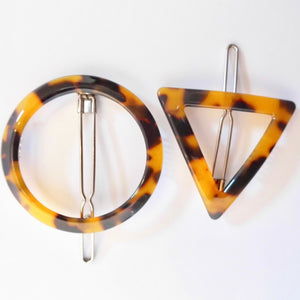geometric tortoiseshell hair clips - brown