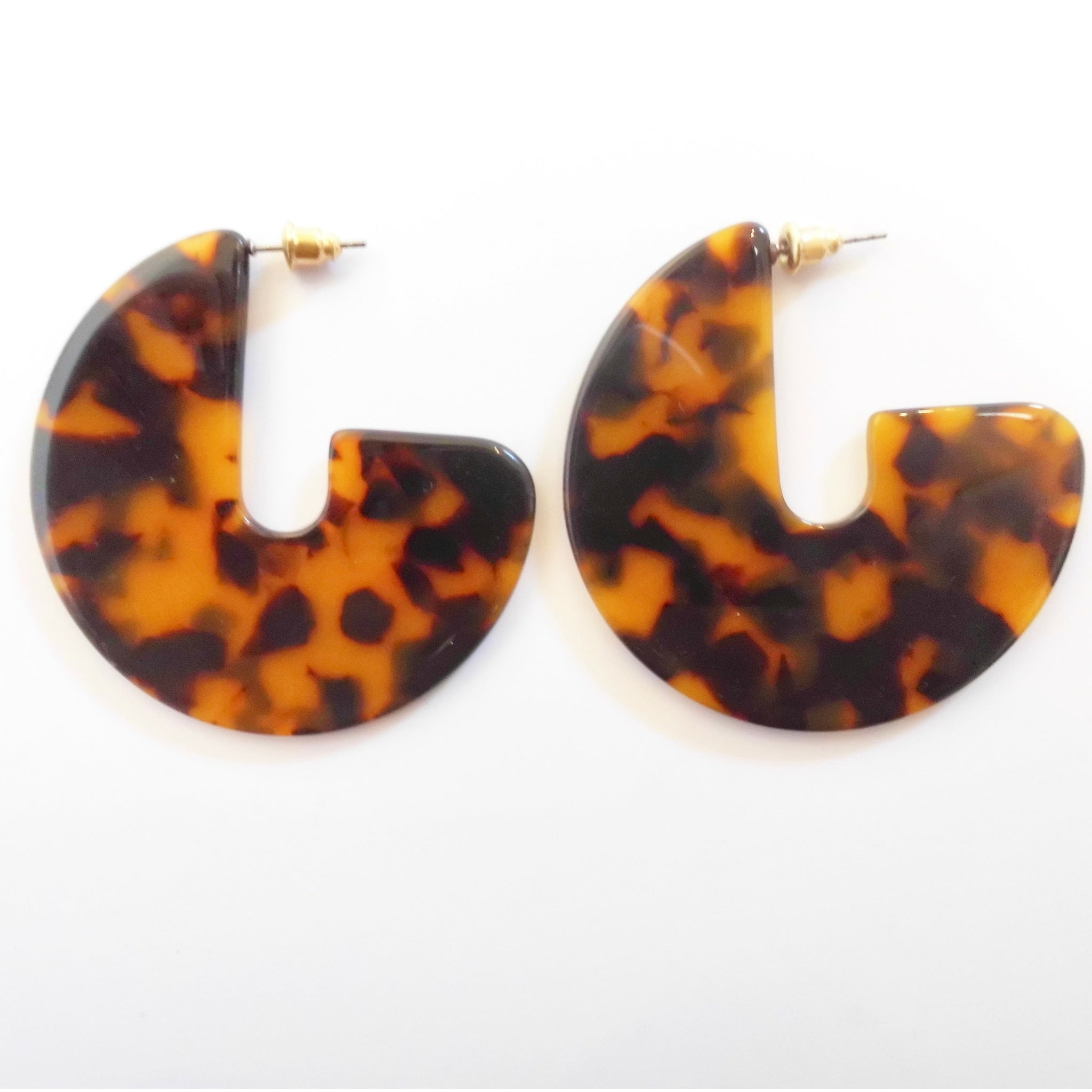 geometric tortoiseshell disc earrings
