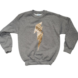 Grey Kids Sweatshirt with Leopard Print Bolt