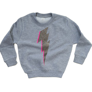 Kids grey sweatshirt with glittery lightning bolt (pink highlight)