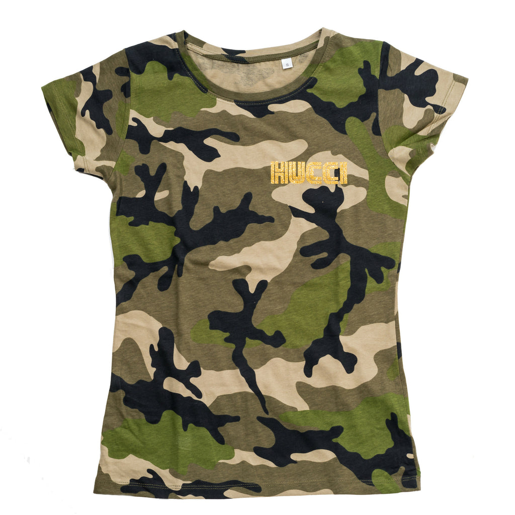 camo print ladies tee with Hucci motif