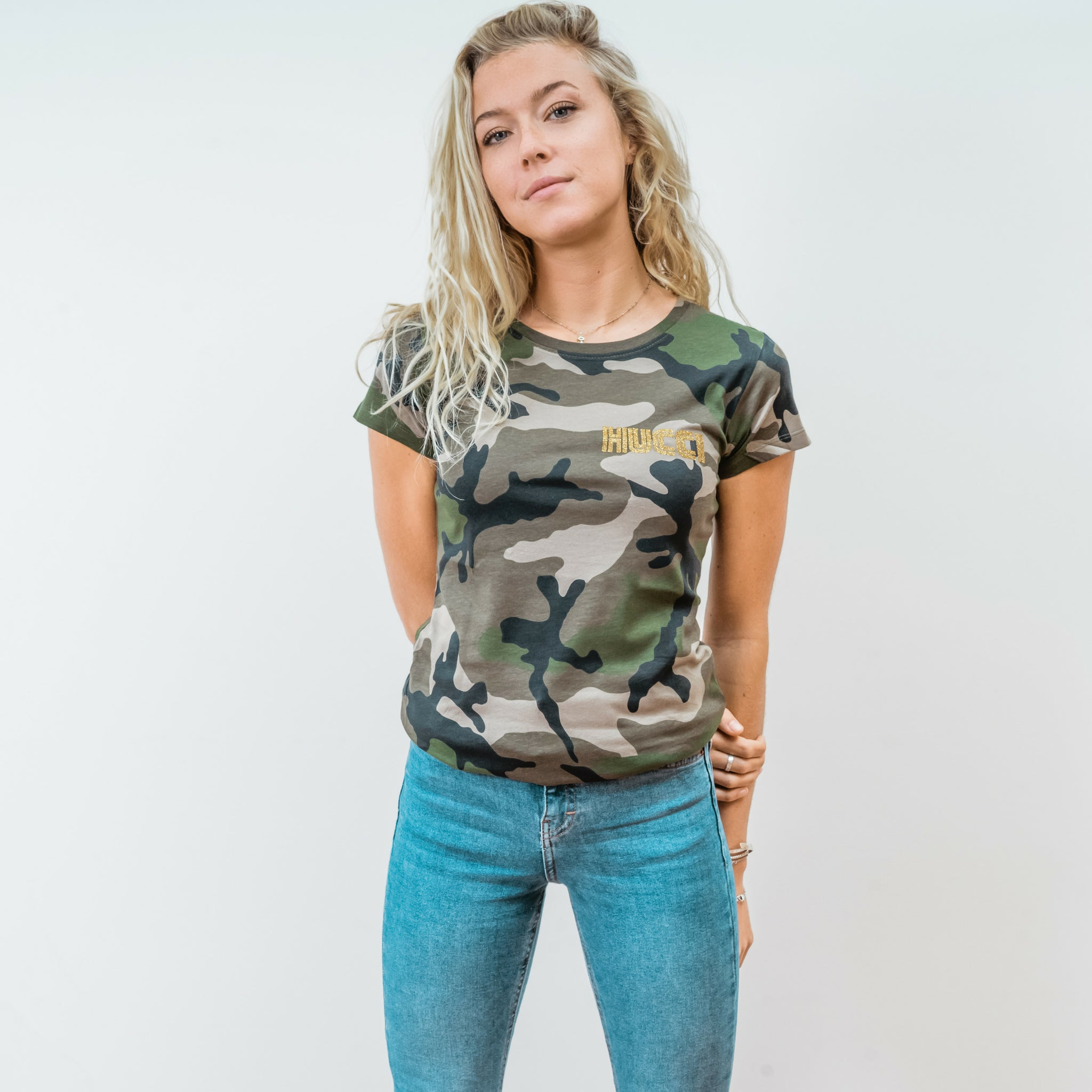 Ladies camo tshirt with hucci emblem
