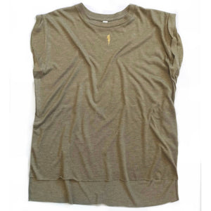 khaki tank with gold lightning bolt detail