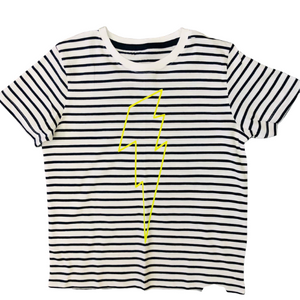 Kids Striped Tee with Neon Yellow Outline Bolt
