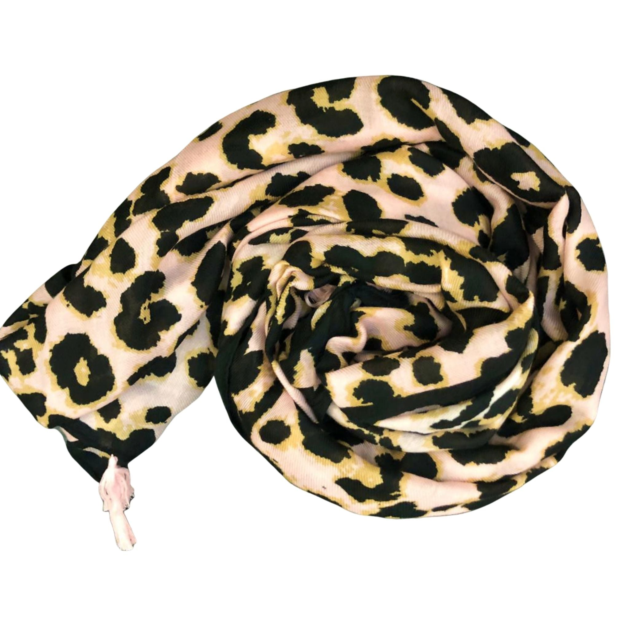 Leopard print scarf with blush background