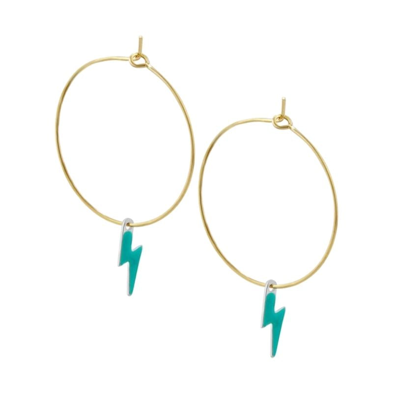 Lightning Bolt Hoop Earrings (choose colour)