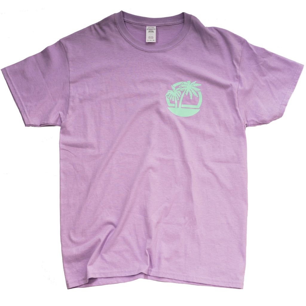 Lilac tee with mint palm tree motif on breast