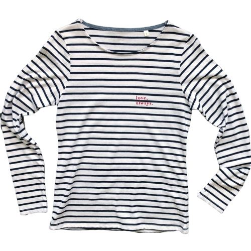 'Love, Always' Striped Breton-Style Top
