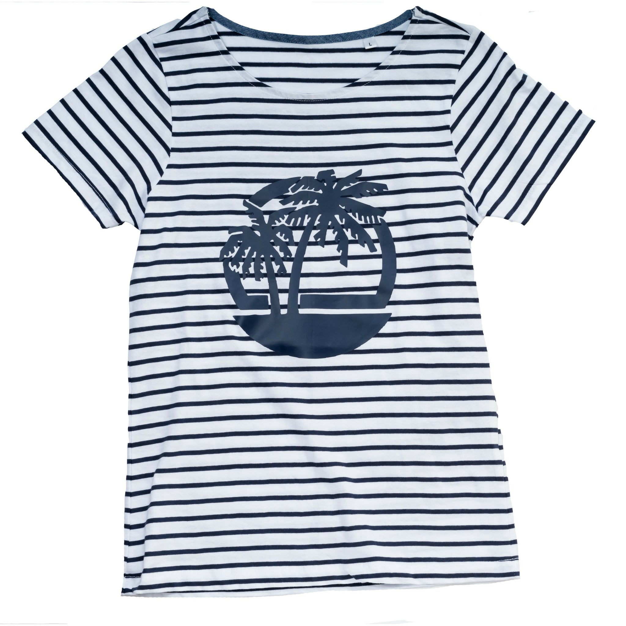 Striped tshirt with palm beach motif