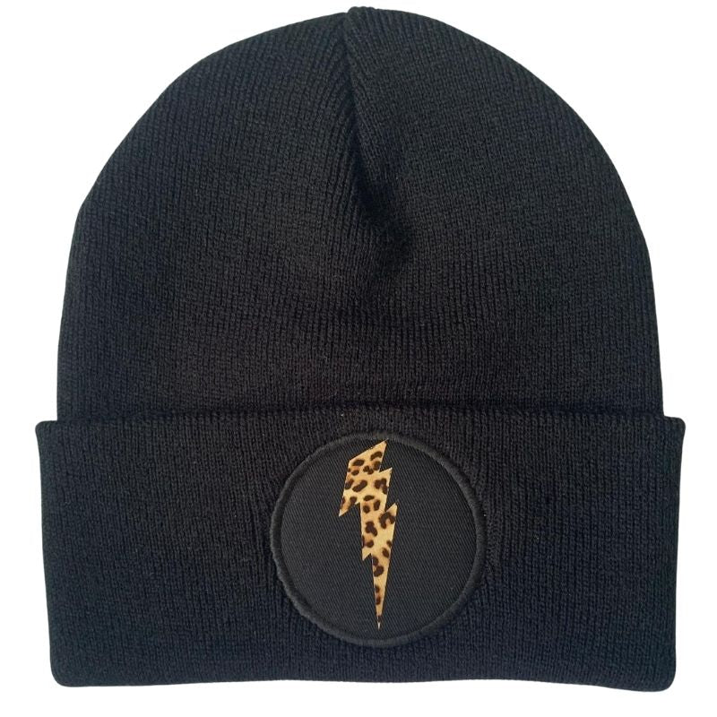 Bolt Beanie (Leopard, Silver or Gold)