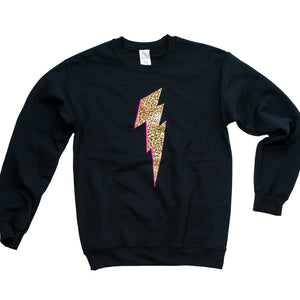 black sweatshirt with leopard print lightning bolt
