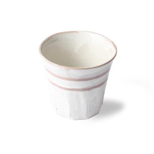 white mug wit terracotta lines