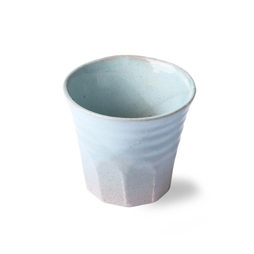 blue and grey ceramic coffee mug