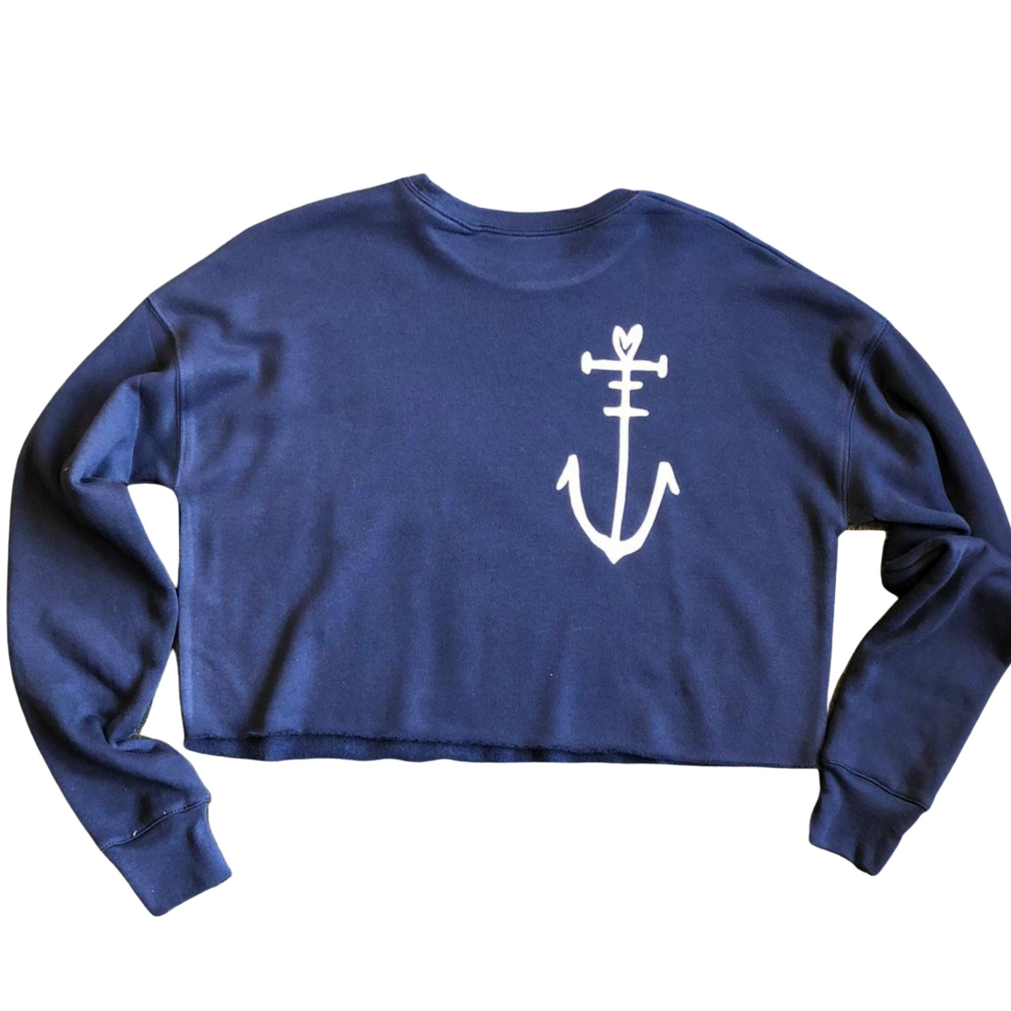 Cropped Blue Sweatshirt with Anchor Motif