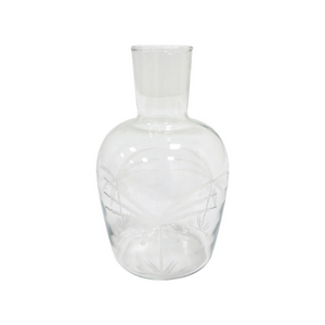 glass carafe engraved with palm motif