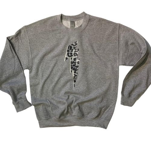 Grey Sweatshirt with Snow Leopard Lightning Bolt