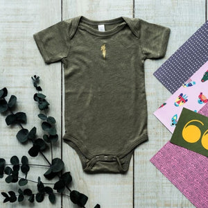 Khaki Baby Vest With Gold Lightning Bolt Detail (single)