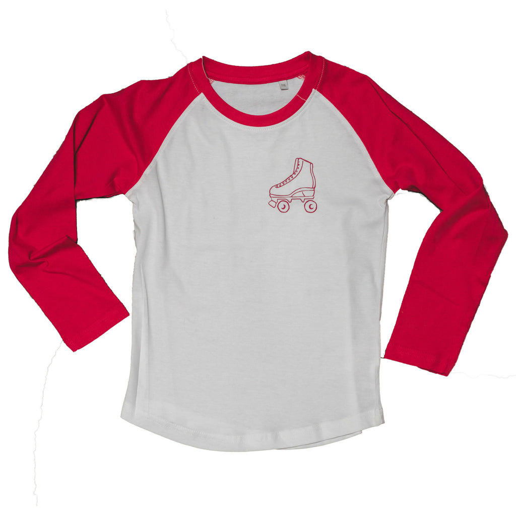 kids rollerboot baseball tee