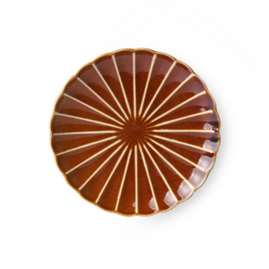 kyoto brown striped plate by hk living