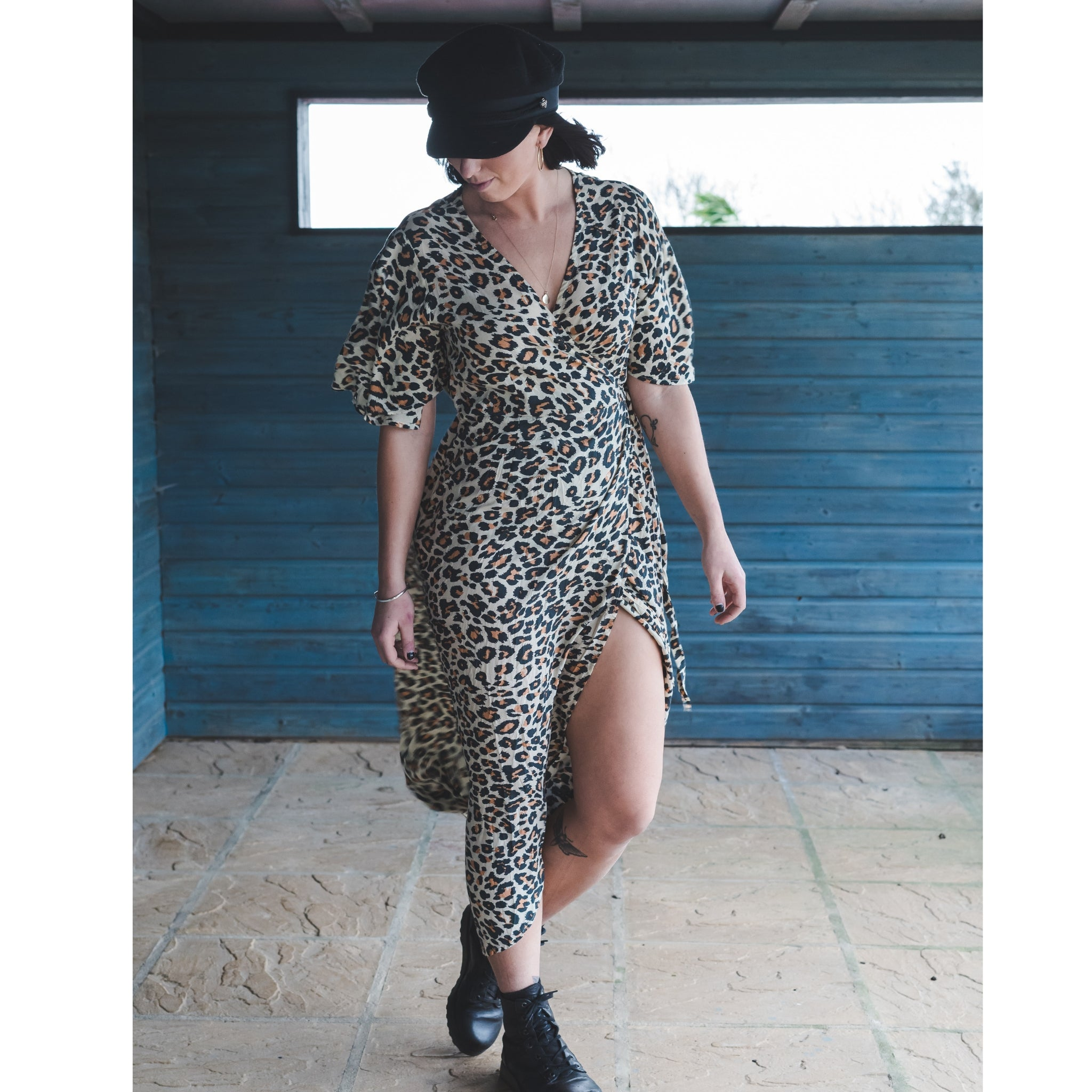 leopard print midi wrap dress