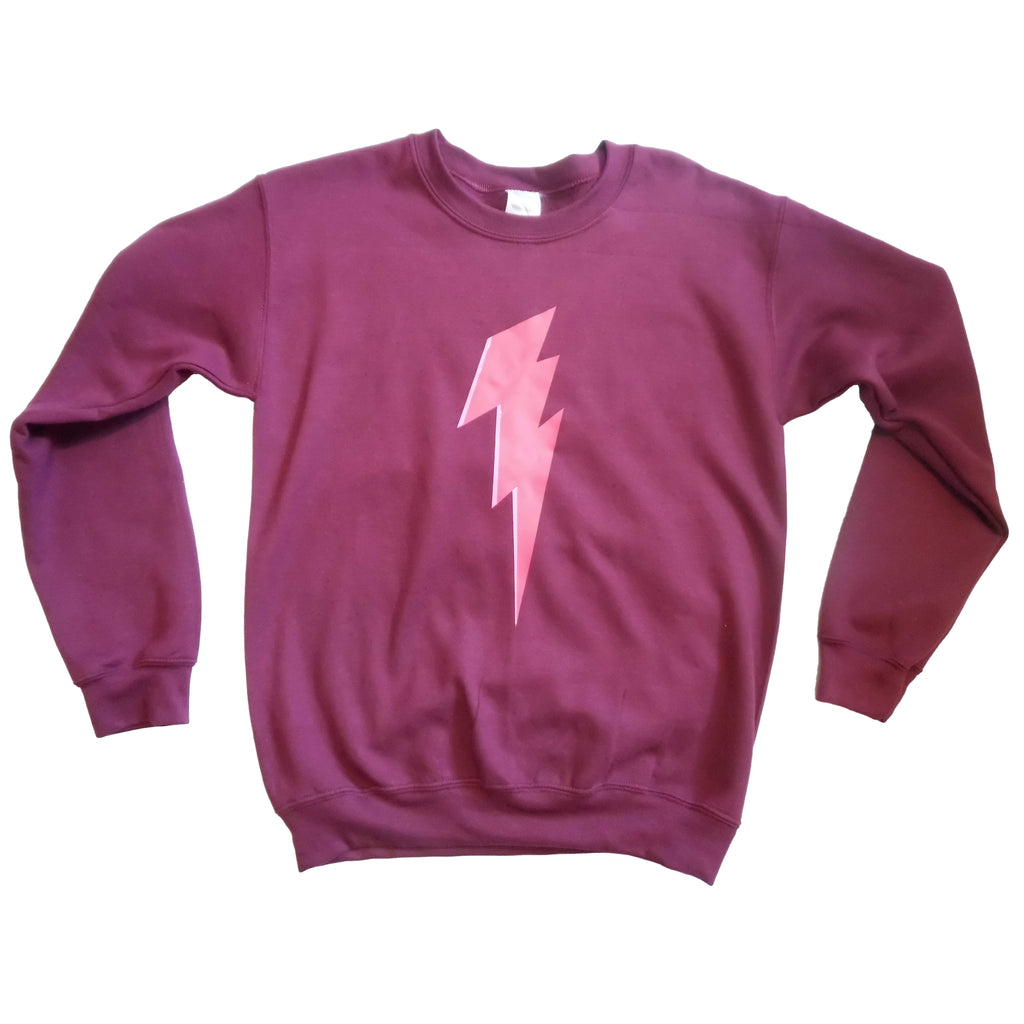 plum sweatshirt with pink lightning bolt