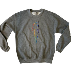 Holographic Sparkle Rainbow Bolt Sweatshirt