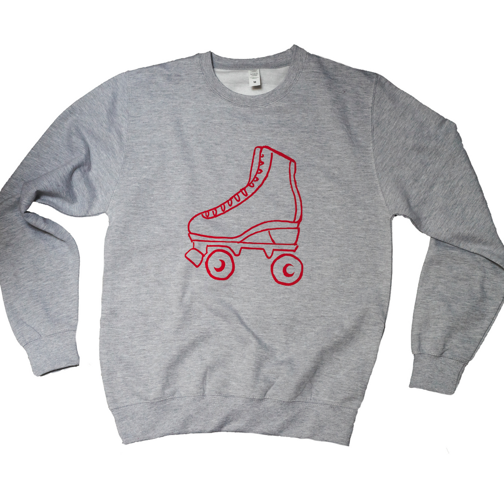 Grey retro rollerboot sweatshirt