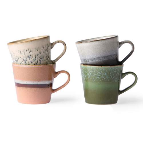 Set of 4 Ceramic Cappuccino Mugs
