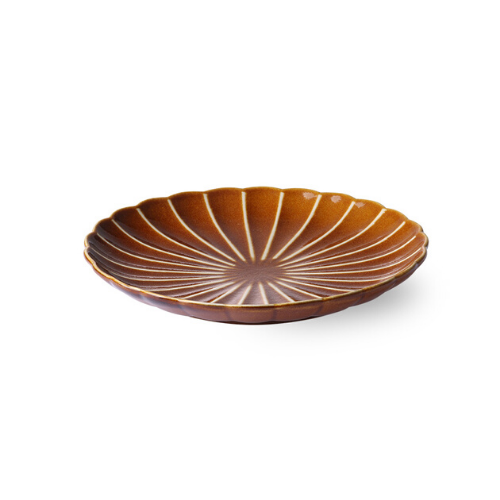 Kyoto Striped Dessert Plate (Brown)
