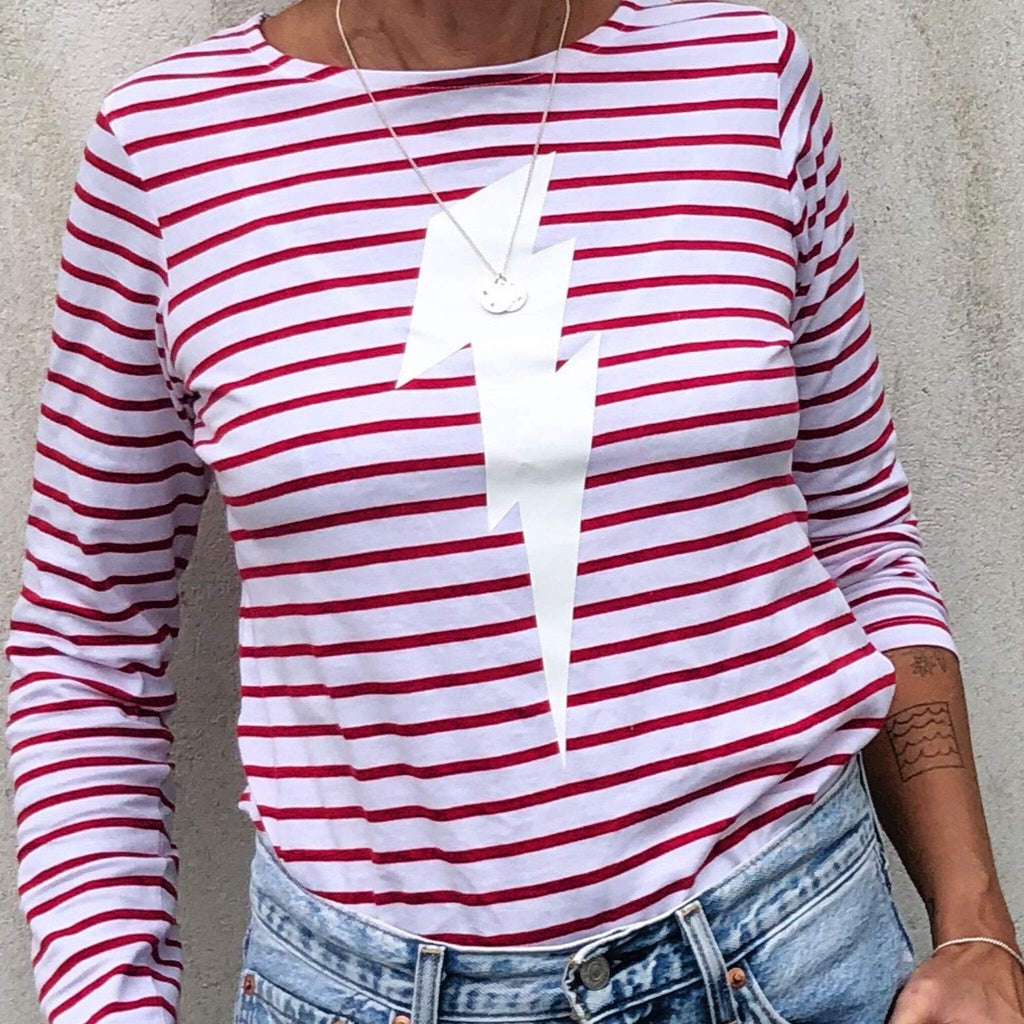 striped breton style lightning bolt top