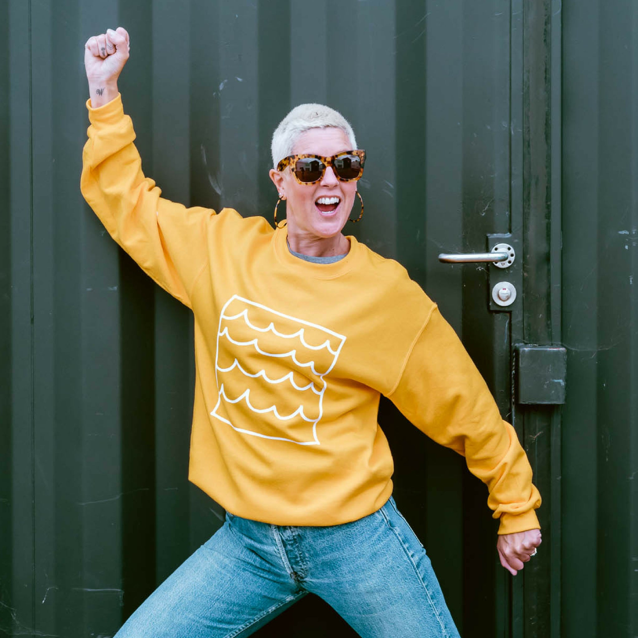 sunshine and waves yellow sweatshirt by syrup and salt (Kato Harrison)
