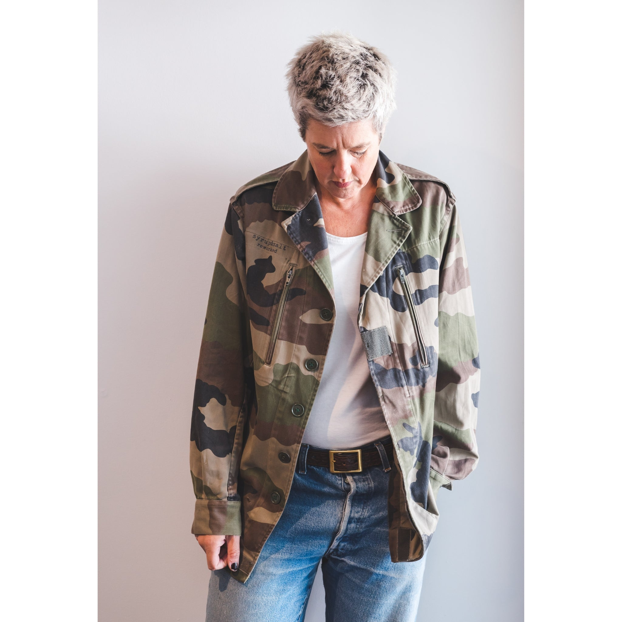 'Arm Me With Harmony' Repurposed Military Jacket