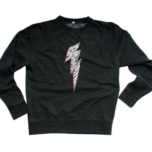 Charcoal Sweatshirt with Zebra Lightning Bolt
