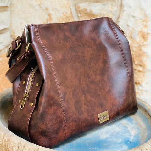Marbled Brown Luz Handbag.