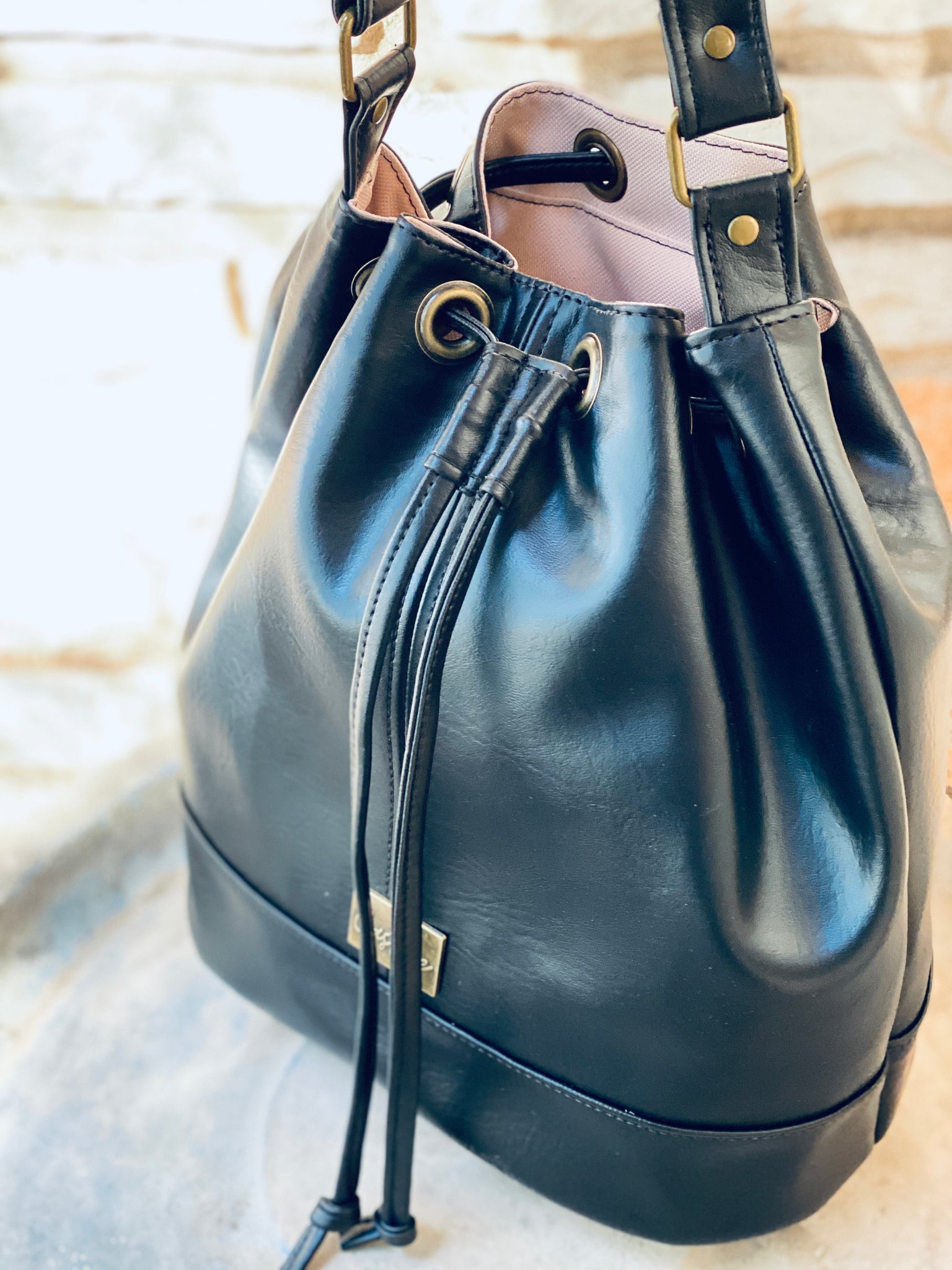 Black Drawstring Bucket Bag