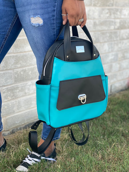 Black and Turquoise Backpack with Flap