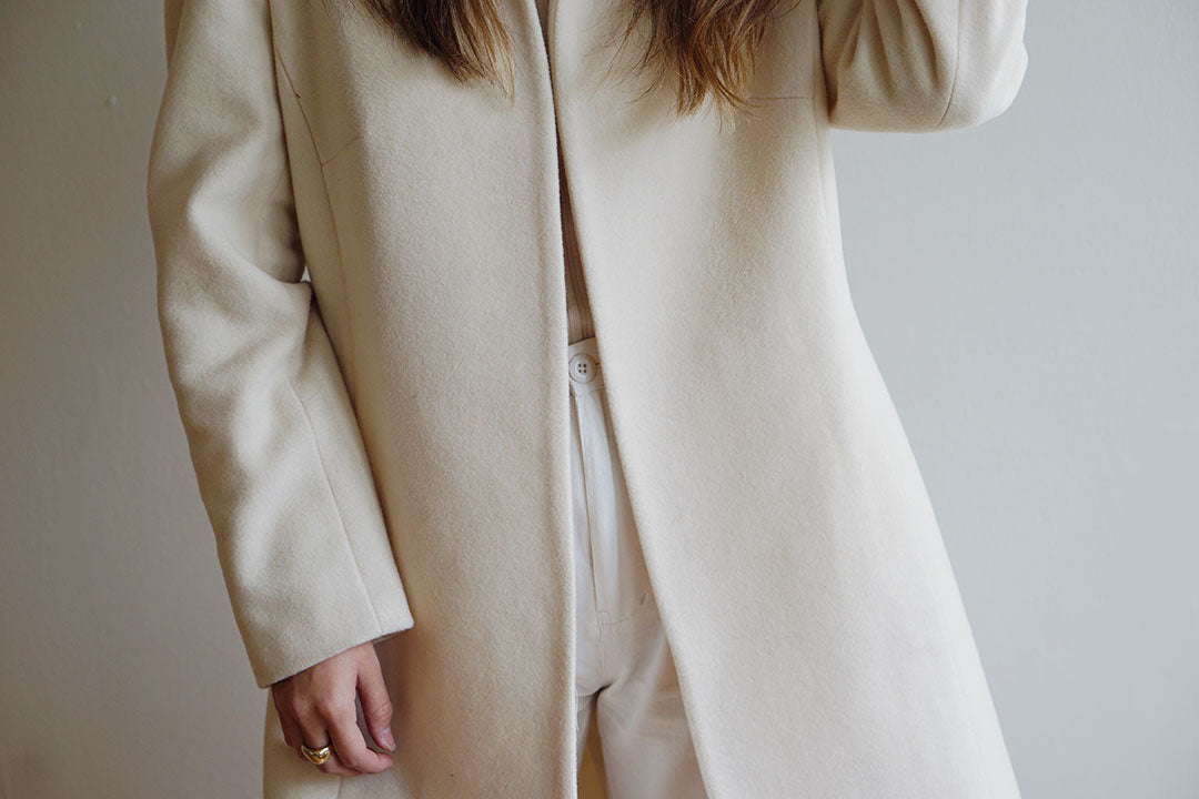 Vintage Beige Long Wool Coat