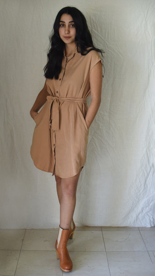 Cupro Shirt Dress
