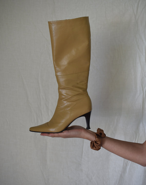Tan Leather Boot Heels