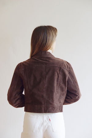 Vintage Dark Brown Cropped Suede Motorcycle Jacket